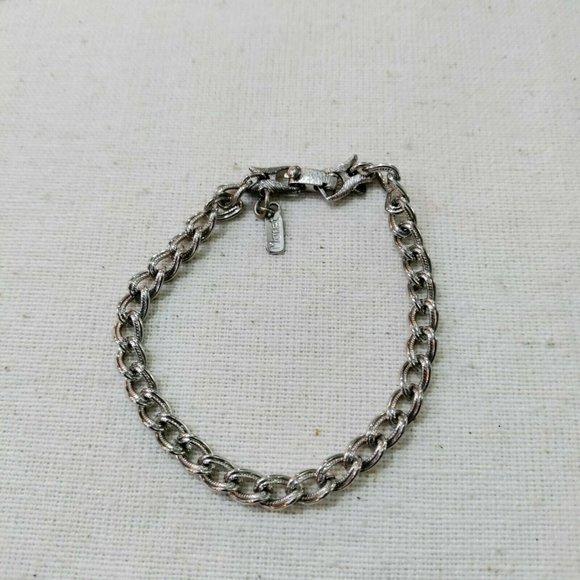 Monet Etched Curb Chain Silver Tone Bracelet